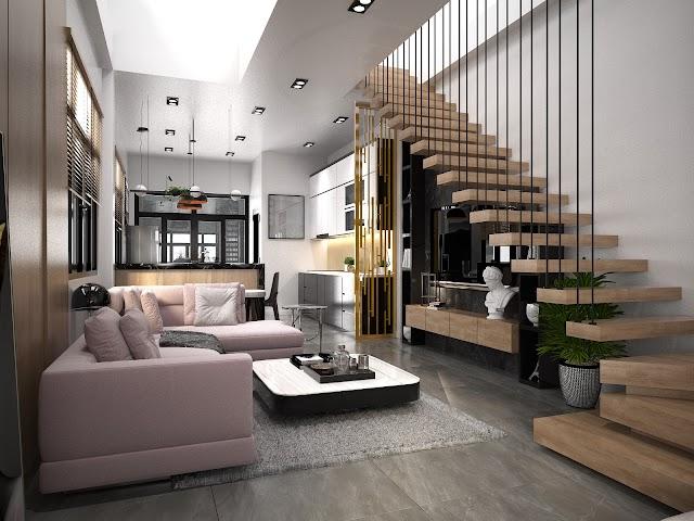 Nội thất nhà phố với cầu thang treo kèm model Sketch up free