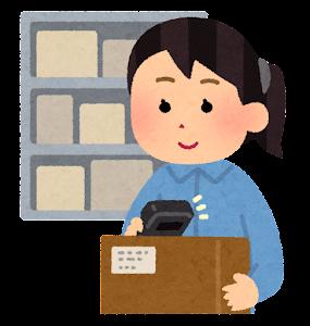 倉庫のピッキング作業のイラスト(女性・バーコードピッキング)