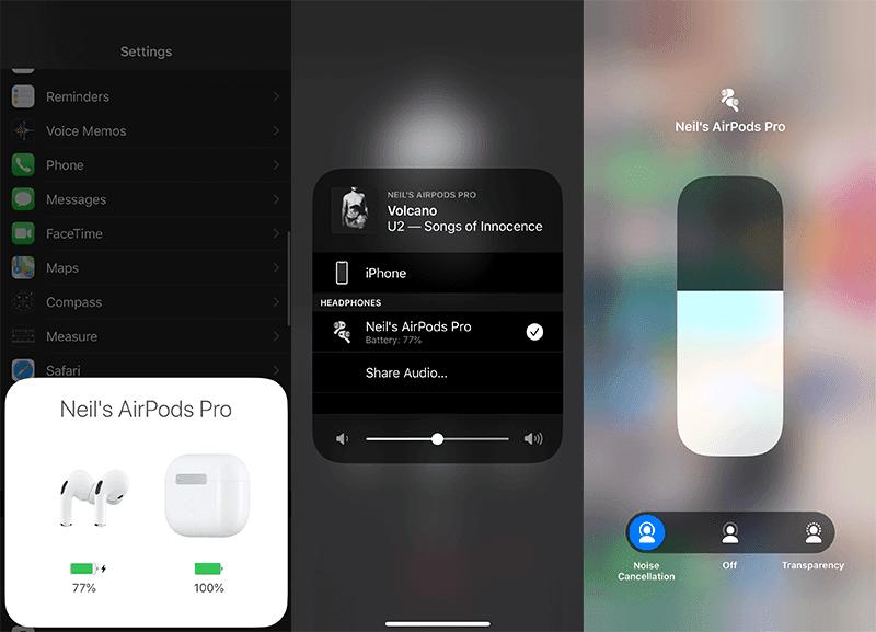 AirPods Pro iOS UI