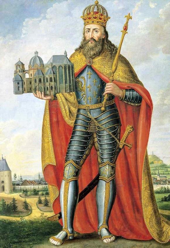 Carlos Magno e a capela palatina de Aix-la-Chapelle, hoje catedral.