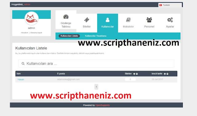 Online Destek Scripti Admin Paneli 1