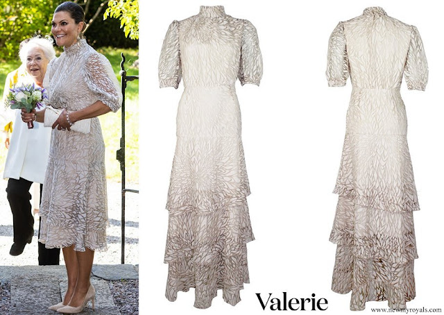 Crown Princess Victoria wore a new Valerie leaf patterned midi dress