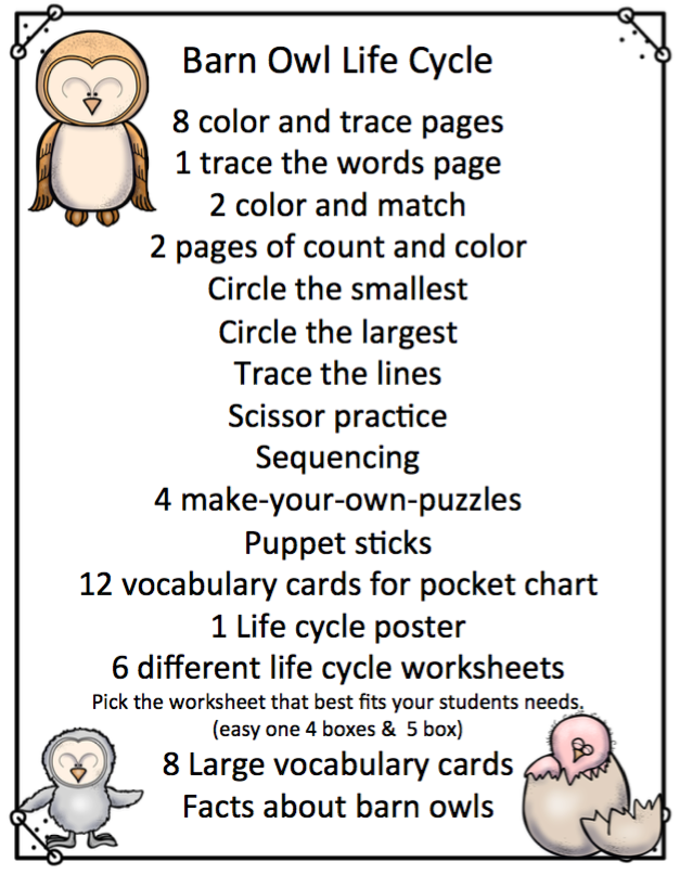 Barn Owl Life Cycle ~ Preschool Printables