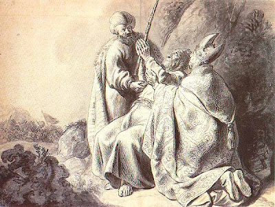 Hur and Aaron hold up Moses' hands - Jan Lievens engraving (1627-1630)
