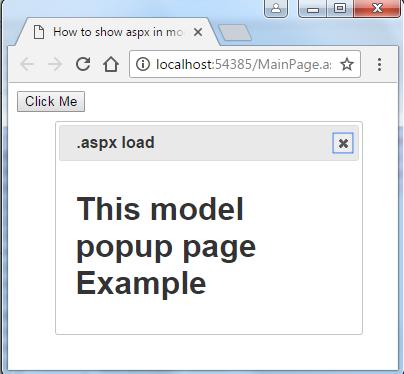 How to show aspx in modal pop up in asp net « Asp Net,MVC,C#
