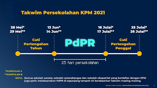 PdPR Akan DiLanjutkan Selepas Cuti Pertengahan Penggal Bermula 13 JUN 2021