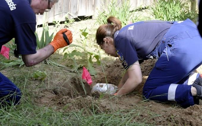 Nagy mennyiségű kábítószergyanús anyagot talált a rendőrség egy kertben elásva