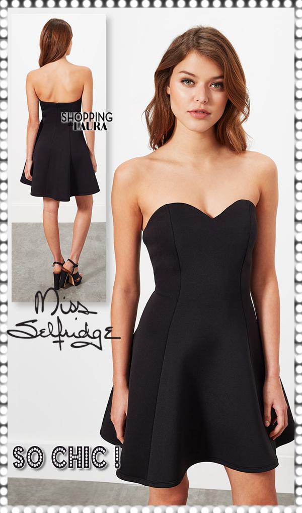 Selfridge negro Bustier Miss Vestido Chic mON8yvn0w