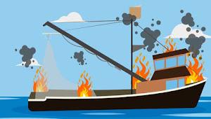 Kapal Nelayan KM Bintang Dobo II Dini Hari Tadi Terbakar Di Pakis Jaya Karawang, Dua ABK Hilang