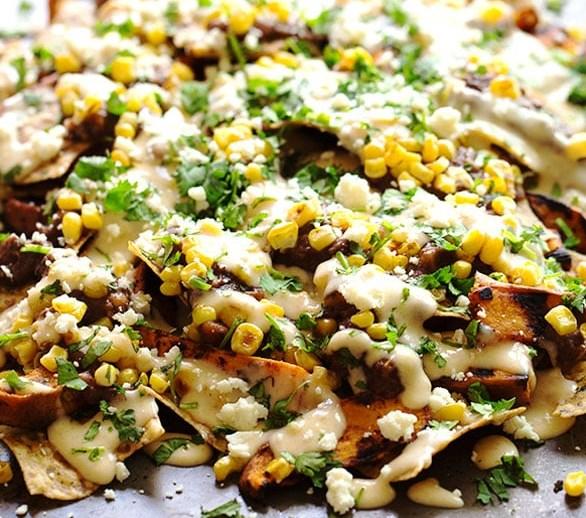 healthy grilled sweet potato nachos #vegetarian #appetizers