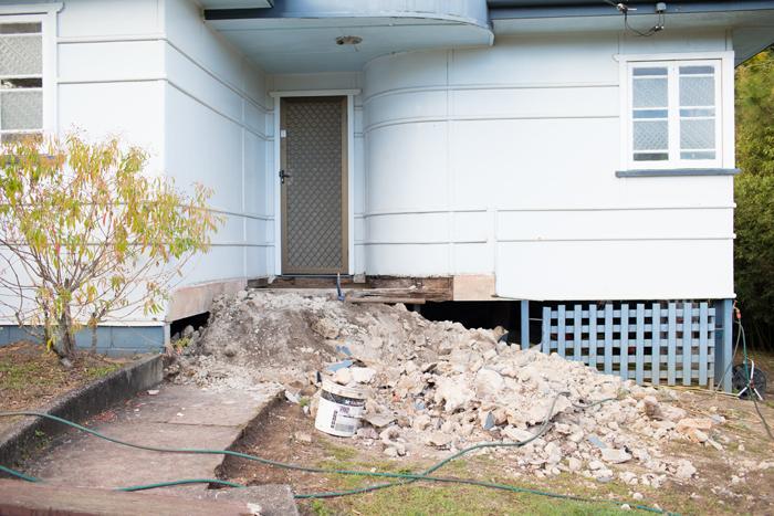 excavated cement porch