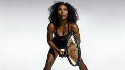 serena williams playing tennis, focused