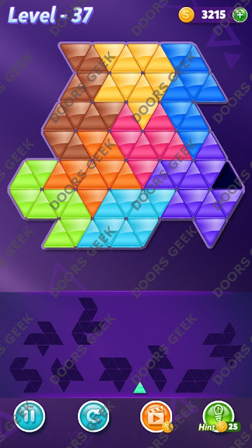 Block! Triangle Puzzle 9 Mania Level 37 Solution, Cheats, Walkthrough for Android, iPhone, iPad and iPod