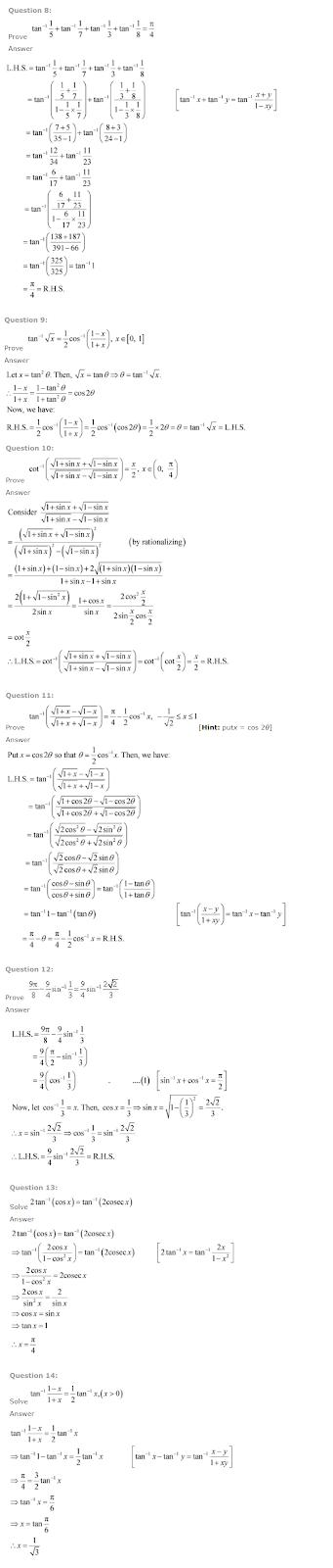 NCERT Solutions For Class 12 Maths Solutions