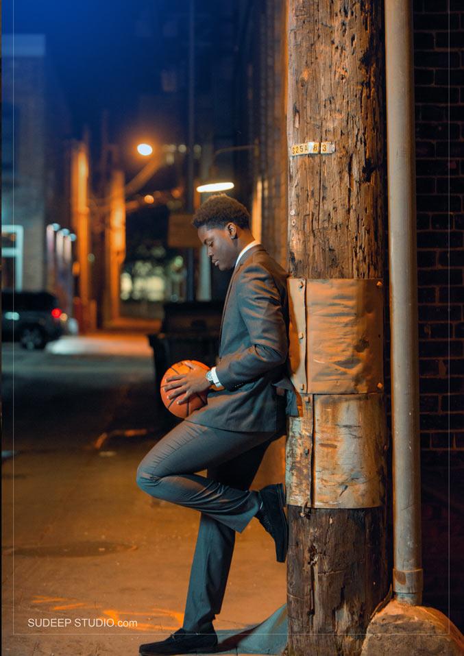 Huron High Basketball Sports Theme Senior Picture - Sudeep Studio Ann Arbor Senior Pictures Photographer