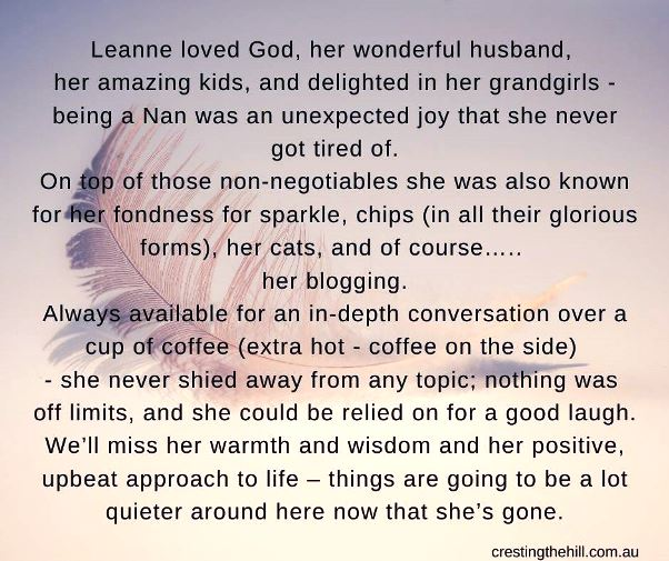 4 sentence eulogy Leanne from Cresting the Hill