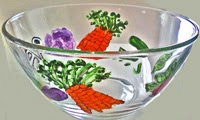 hand painted salad bowls in vegetable garden design
