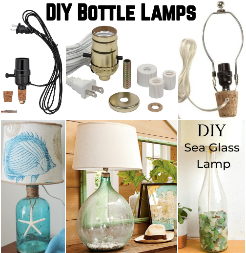 DIY Coastal Nautical Beach Bottle Lamp Ideas