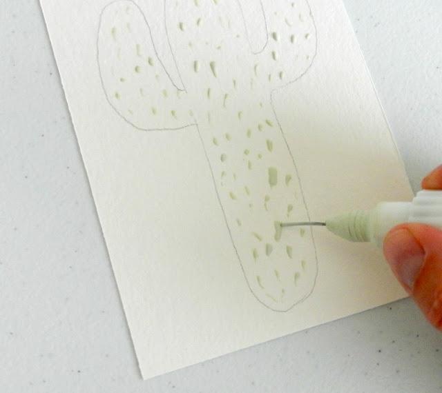 Masking Fluid Watercolor Cactus