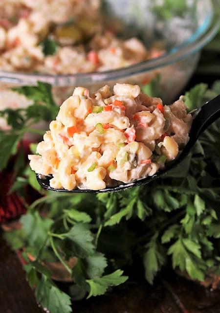 Serving Spoon of Copycat Kentucky Fried Chicken Macaroni Salad Image