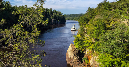 View of the St. Croix River from the Glacial Potholes Trail at Interstate State Park
