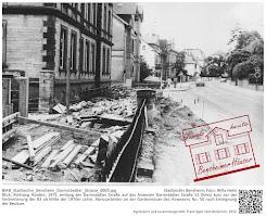Erweiterung der B3 in Bensheim - Enteignung der Grundstücke - Aufnahmen der alten und neuen Begrenzubgsmauern Darmstäddter Straße 50