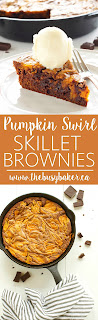 Pumpkin Swirl Skillet Brownies www.thebusybaker.ca