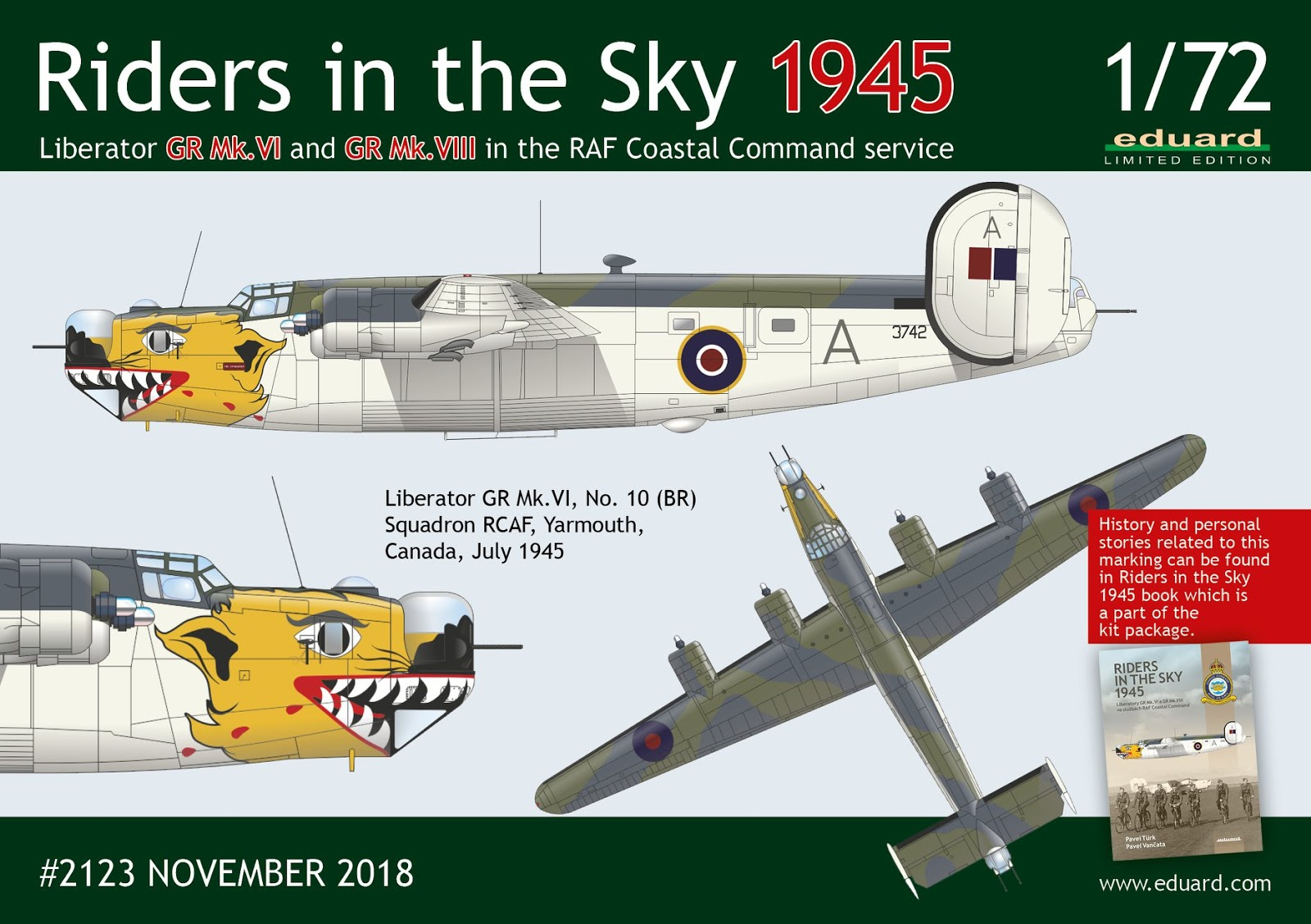 1:72 scale Limited Edition kit of WWII four-engines bomber aircraft Liberator GR Mk.VI and GR Mk.VIII model by Eduard.