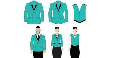 Mẫu áo vest nhà hàng, khách sạn màu xanh