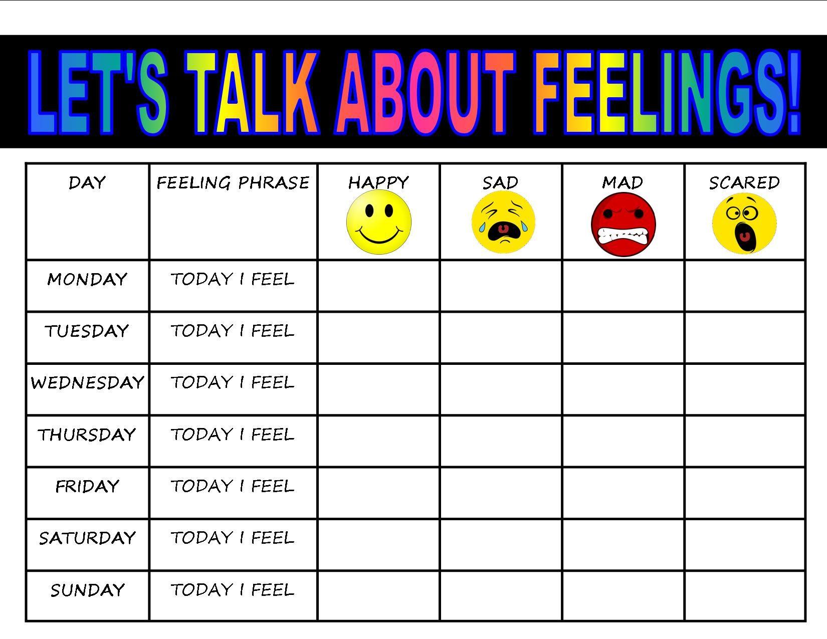 feelings chart for kids worksheet