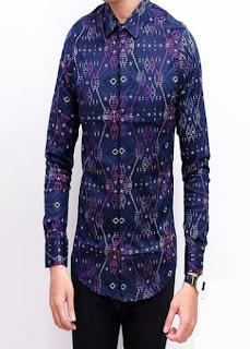 Baju Batik Pria Lengan Panjang Kombinasi