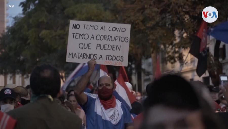 Manifestaciones contra el presidente de Paraguay por el manejo de la pandemia en su segunda ola / AP