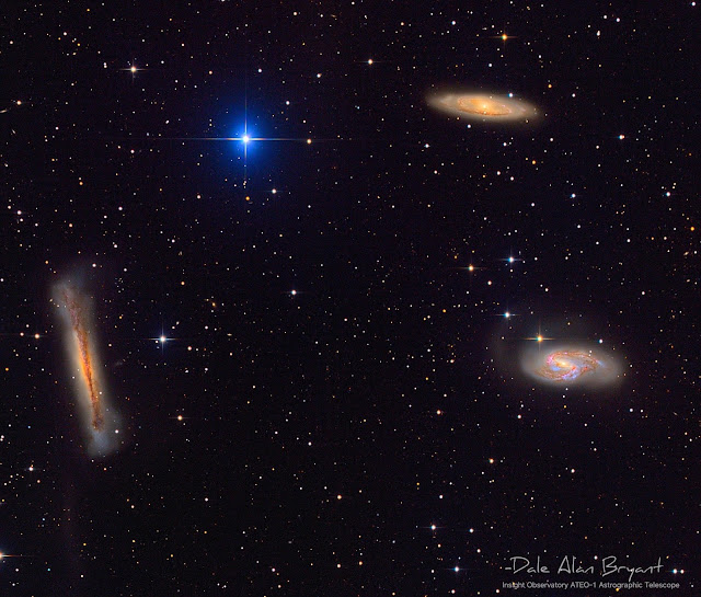 "The ""Leo Triplet"" consisting of galaxies NGC 3628 (left), M65 (upper right), and M66 (lower right). Image provided by the author using Insight Observatory's 16"" f/3.7 astrograph reflector, ATEO-1."
