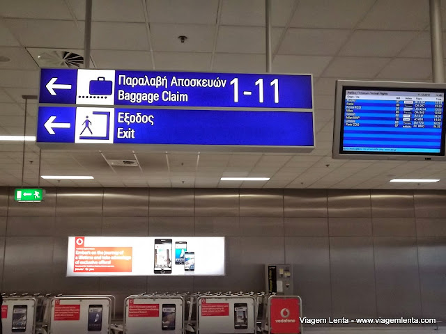 Dois alfabetos no aeroporto de Atenas