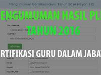 Pengumuman Hasil Kelulusan PLPG Tahun 2016