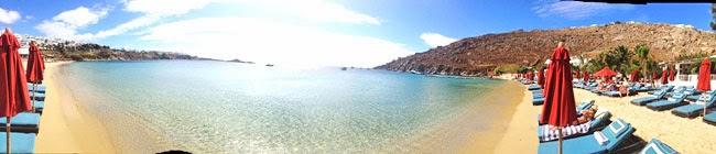 Psarou beach panoramic view