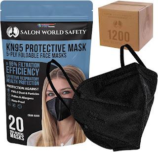 KN95 Salon World Safety Black Protective Masks