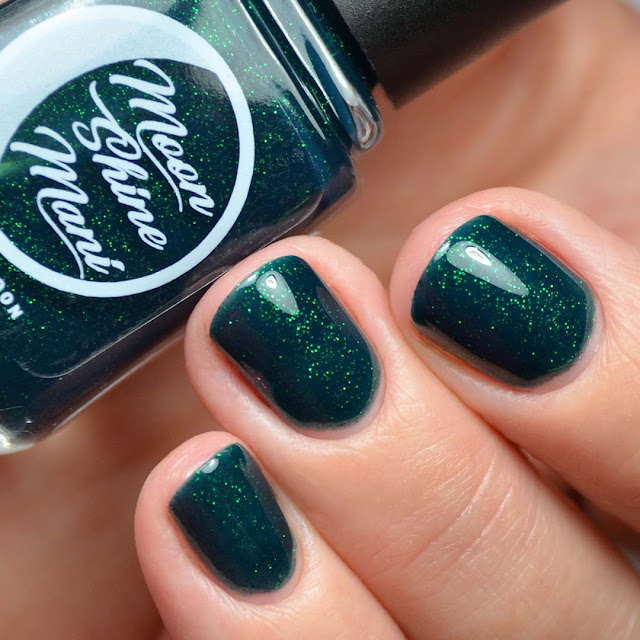 emerald glitter nail polish swatch