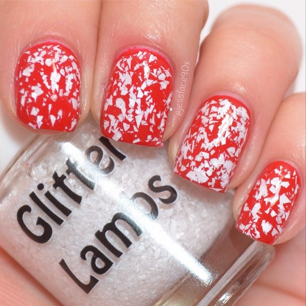Christmas custom handmade indie nail lacquer. Christmas nails. Red nails with white glitter shreds.