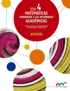 Libro Matemáticas Orientadas a las Enseñanzas Académicas 4º ESO Anaya Proyecto Aprender es Crecer