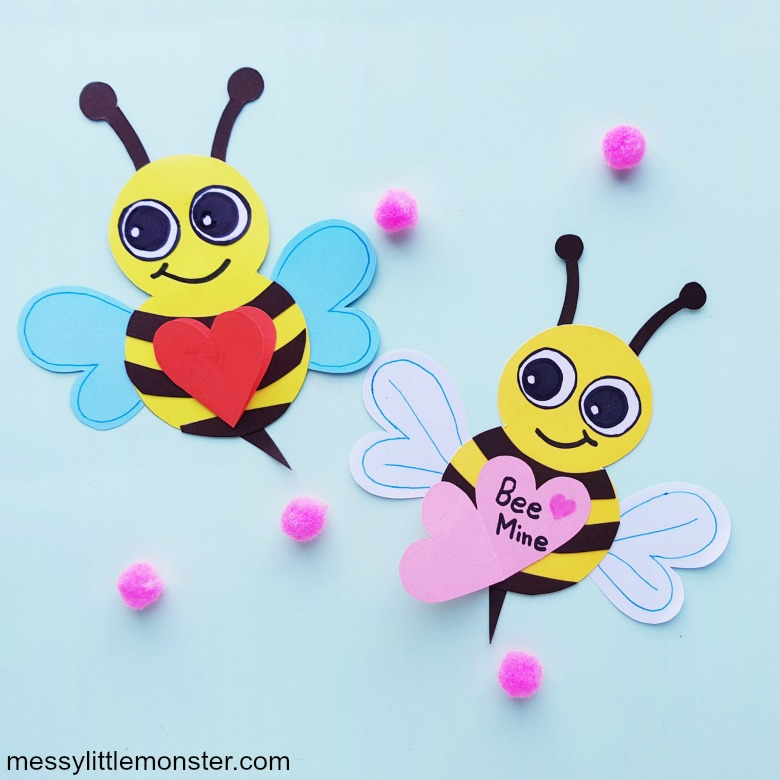 bee mine valentine card for kids to make