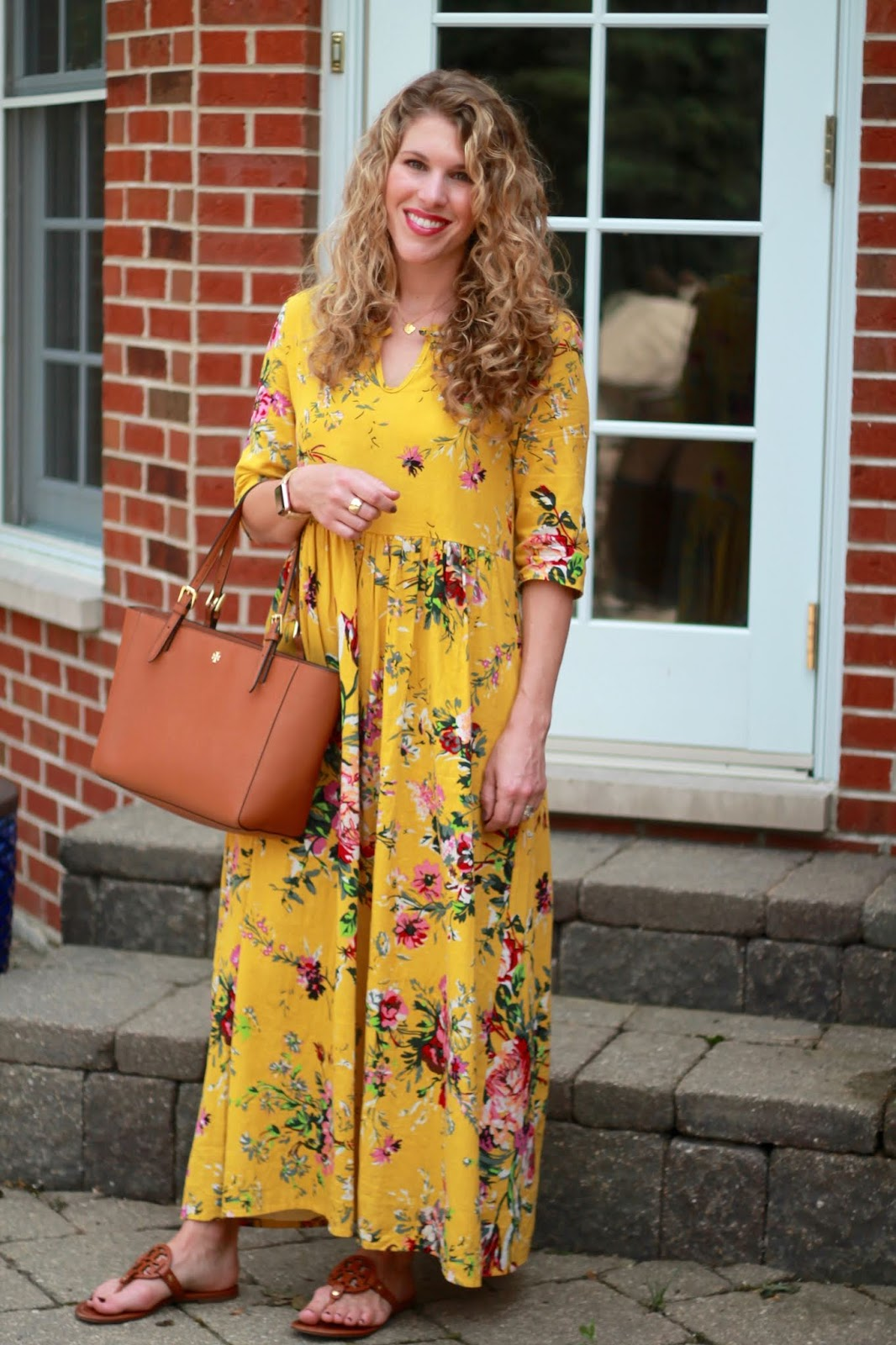 yellow floral maxi dress, tory burch miller sandals, tory burch cognac tote,