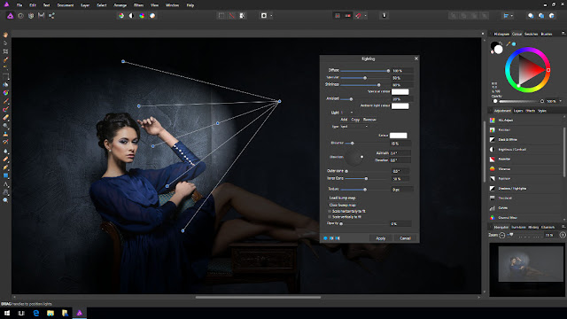 Strumento lighting di Affinity Photo per Windows