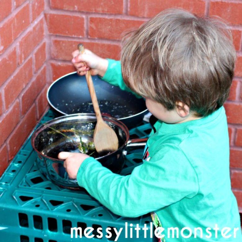 outdoor activities for kids - diy mud kitchen