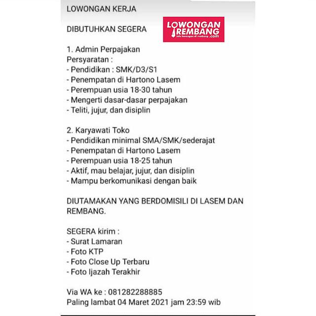 Lowongan Kerja Admin Perpajakan Dan Karyawati Toko Bangunan Hartono Lasem Rembang
