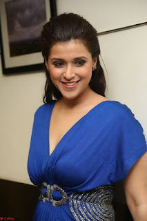 Mannara Chopra in Short Blue Dress at Rogue Movie Teaser Launch 1st March 2017 078.JPG