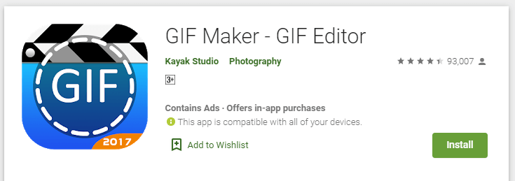 Instal aplikasi GIF Maker