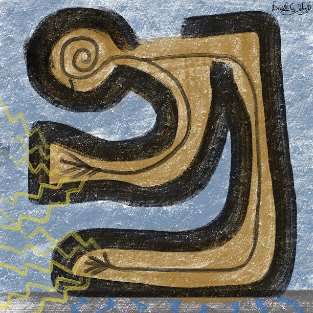 tribal art displaying a human like figure with energy coming from fingers and toes