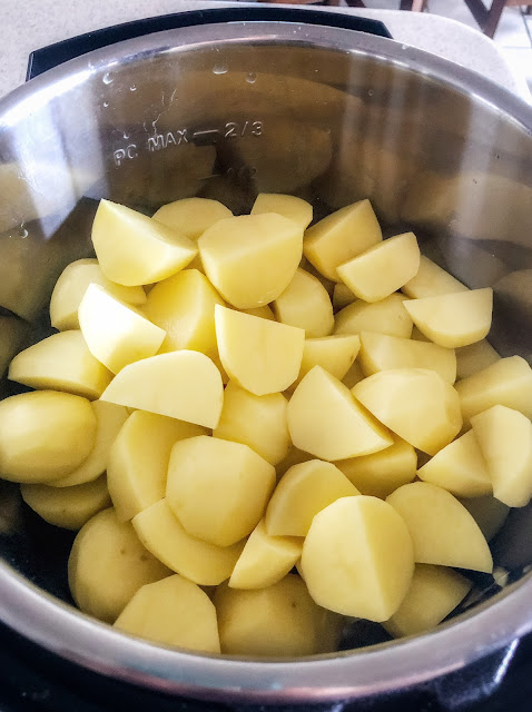 chopped potatoes in instant pot
