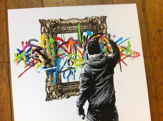 """Framed"" New Limited Edition Screen Print By Norwegian Street Artist Martin Whatson. 1"